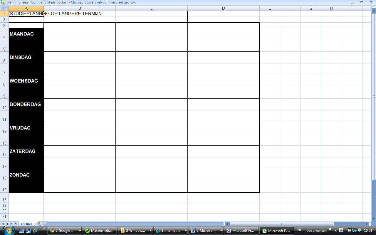 planning maken in excel